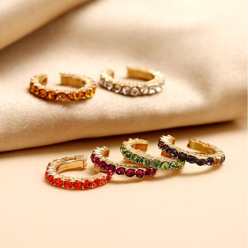 Colorful diamond-free pierced ear ear clip fashion new simple C ear bone clip NHKQ204448