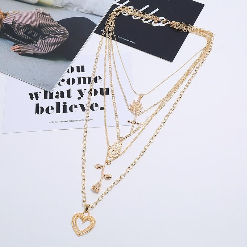Multi-layer Exaggerated Retro Necklace Fashion Maple Leaf Cross Palm Rose Love Necklace NHKQ204450