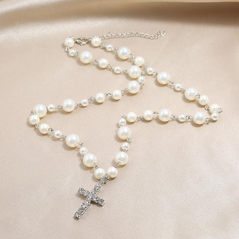 Fashion New Necklace Cross Pendant Pearl Swan Neck Clavicle Necklace NHKQ204452