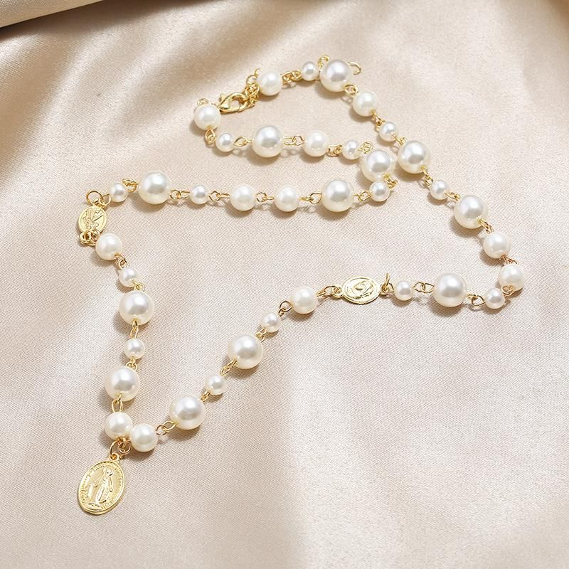 New retro necklace fashion simple pearl oval pendant necklace NHKQ204454
