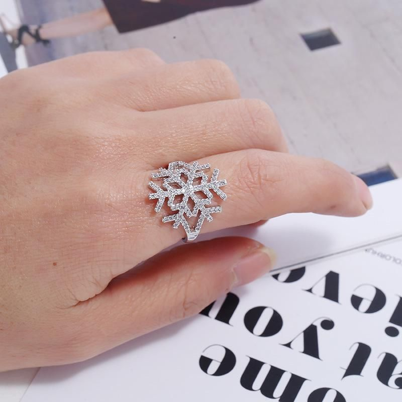 Korean Fashion New Simple Retro Ring Christmas Snowflake Hollow Design Geometric Ring NHKQ204458