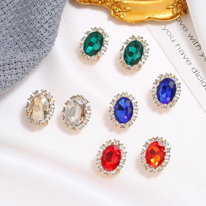 Vintage alloy diamond oval elliptical geometric crystal earrings simple fashion trend earrings wholesale NHKQ204461