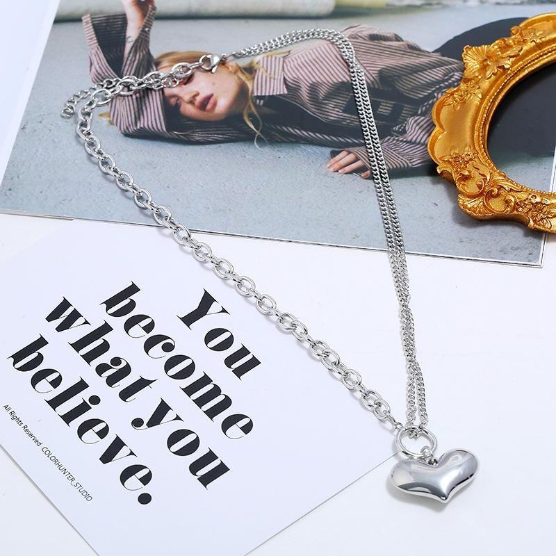 Love chain necklace fashion retro simple golden pendant NHKQ204466