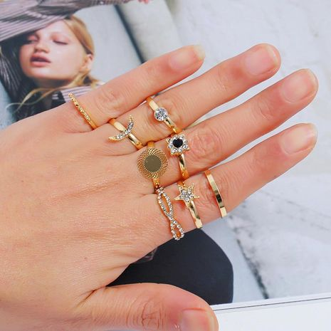 Fashion Retro Diamond Jointed Ring Set Simple Star Moon Round Geometric Ring 8 Piece Set NHKQ204467's discount tags