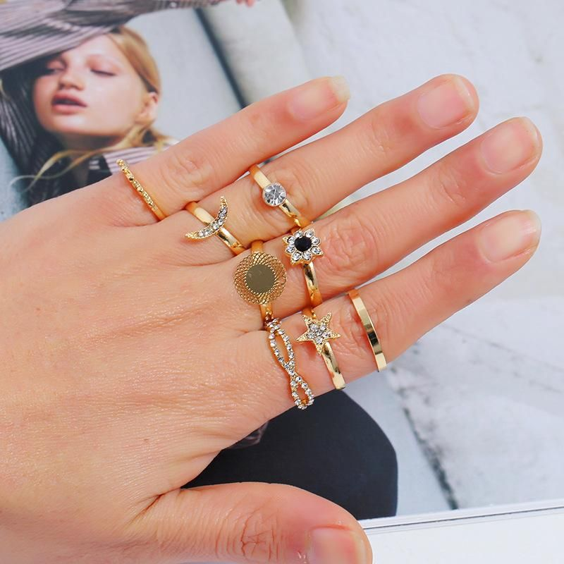 Fashion Retro Diamond Jointed Ring Set Simple Star Moon Round Geometric Ring 8 Piece Set NHKQ204467