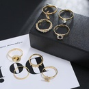 Fashion Retro Diamond Jointed Ring Set Simple Star Moon Round Geometric Ring 8 Piece Set NHKQ204467