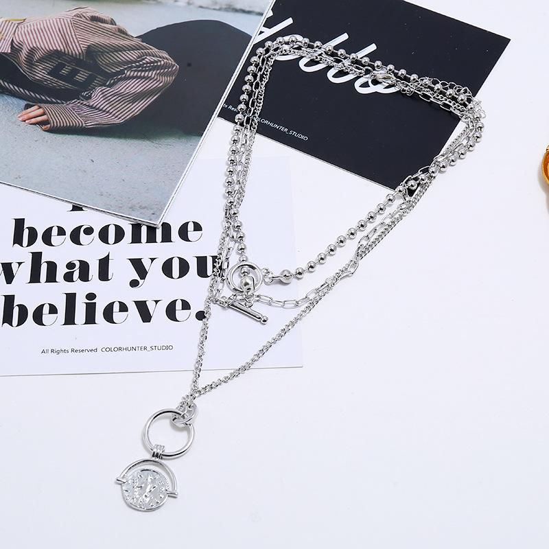 Korean fashion trend hip-hop necklace retro embossed geometric simple multilayer necklace NHKQ204468