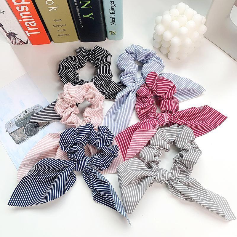 Fabric big bow stripe hair band tie release ring chiffon head rope wholesale NHOF204476