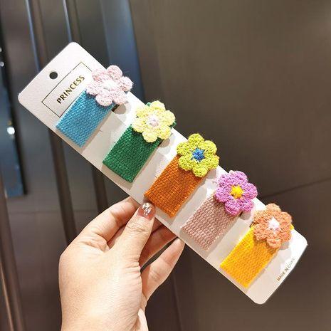 Color de contraste flor pinza de pelo flores de punto lindo flequillo clip BB clip pinza de pelo borde accesorios para el cabello mujer NHSA204487's discount tags