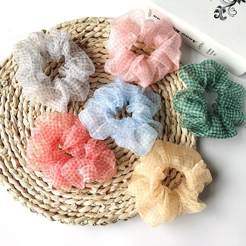 Colored plaid hair rope organza hair ring meatballs scalp band Korean colon NHSA204489