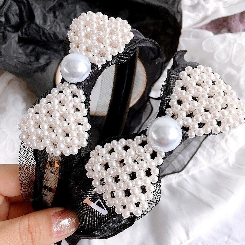 Korean mesh gauze pearl bow simple head buckle headband headband hair accessory headdress NHHI204499