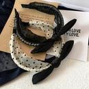New Korean thick wave point pearlescent organza pearl top knot black ear simple hair hoop NHHI204503