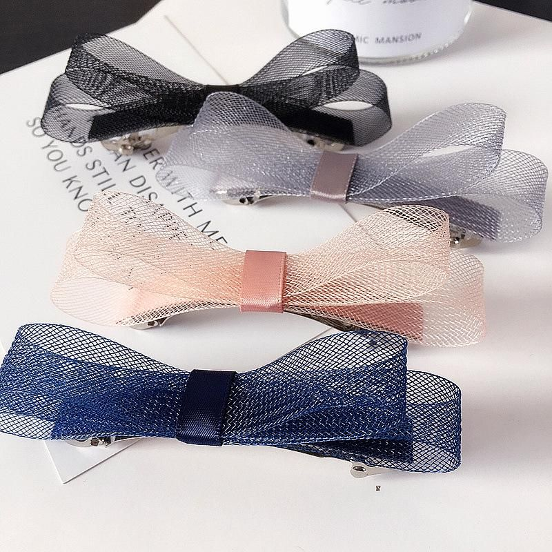 New Korean mesh gauze double simple bow steel clip spring clip cheap hair accessories wholesale NHHI204504