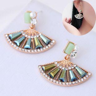 Korean Fashion Sweet Scalloped Diamond Stud Earrings for women wholesale NHSC204511's discount tags