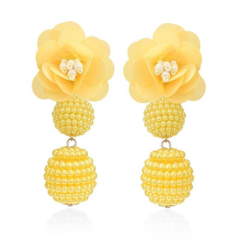 Korean new pearl earrings fashion ball ball earrings Sen color flower pearl earrings women NHMD204436