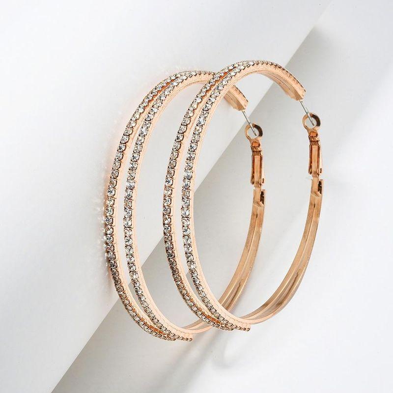 Oversized circle earrings claw chain earrings fashion double diamond earrings women NHMD204438