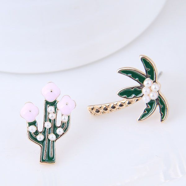 Korean Fashion Metal Flower Tree Asymmetric Earrings for women wholesale NHSC204510