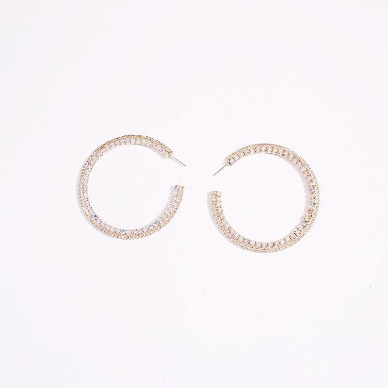 Geometric big circle earrings simple alloy diamond earrings fashion jewelry women NHMD204441