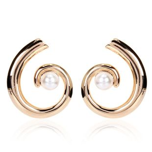 Korean simple earrings exaggerated imitation pearl geometric semicircle earrings for women NHCT204516's discount tags