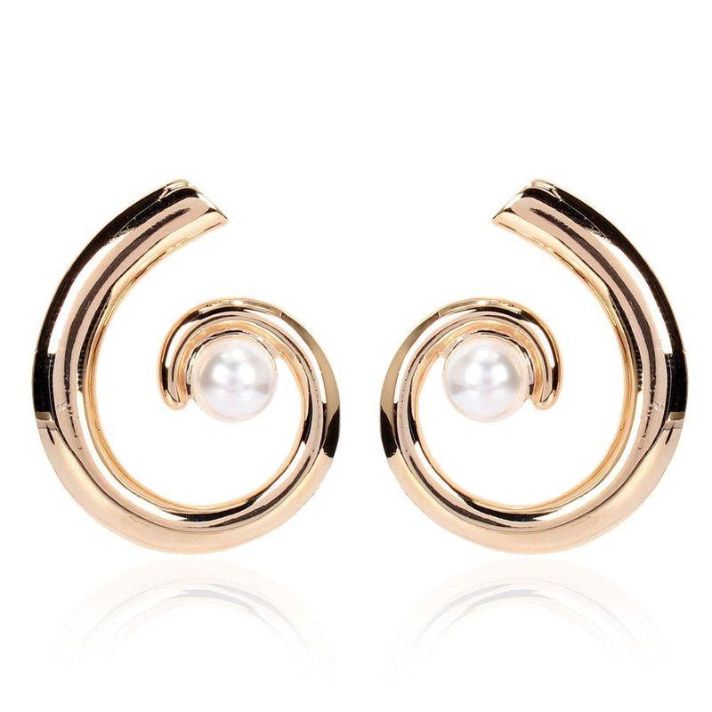 Korean simple earrings exaggerated imitation pearl geometric semicircle earrings for women NHCT204516