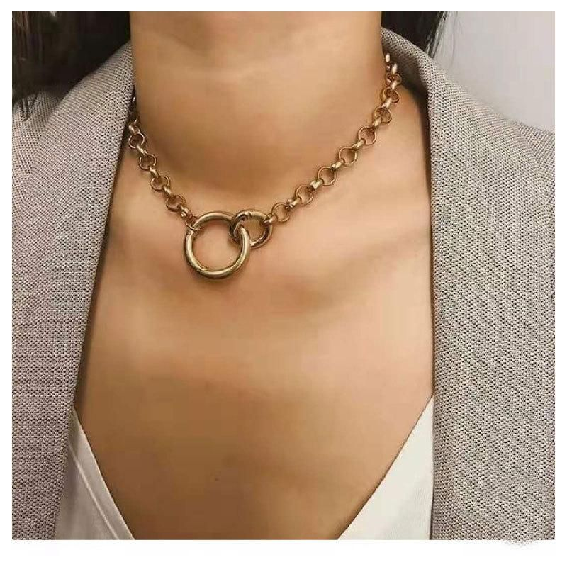 New fashion double ring pendant pure alloy series necklace wholesale NHCT204520