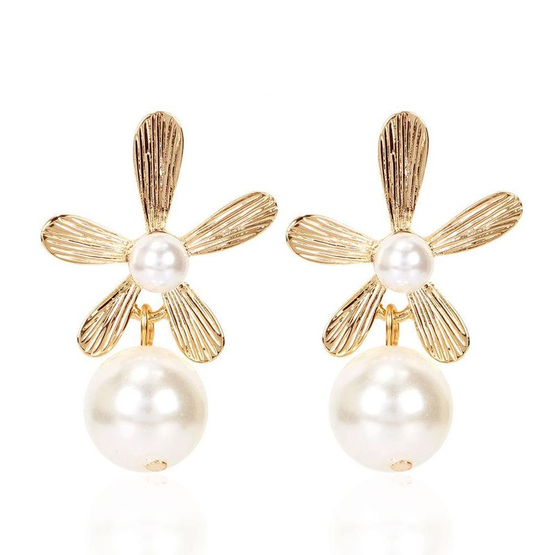 Retro earrings simple three-dimensional flowers irregular pearl earrings NHCT204521