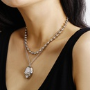 New fashion simple metal ball bead suit item threedimensional relief fox suit necklace women NHXR204525