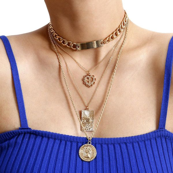 New fashion mix and match portrait item female punk metal wind square card heart-shaped cross necklace set wholesale NHXR204526
