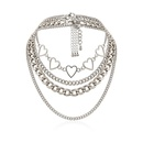 New fashion hiphop geometric suit item decorated simple peach heart hollow multilayer chain necklace women NHXR204531
