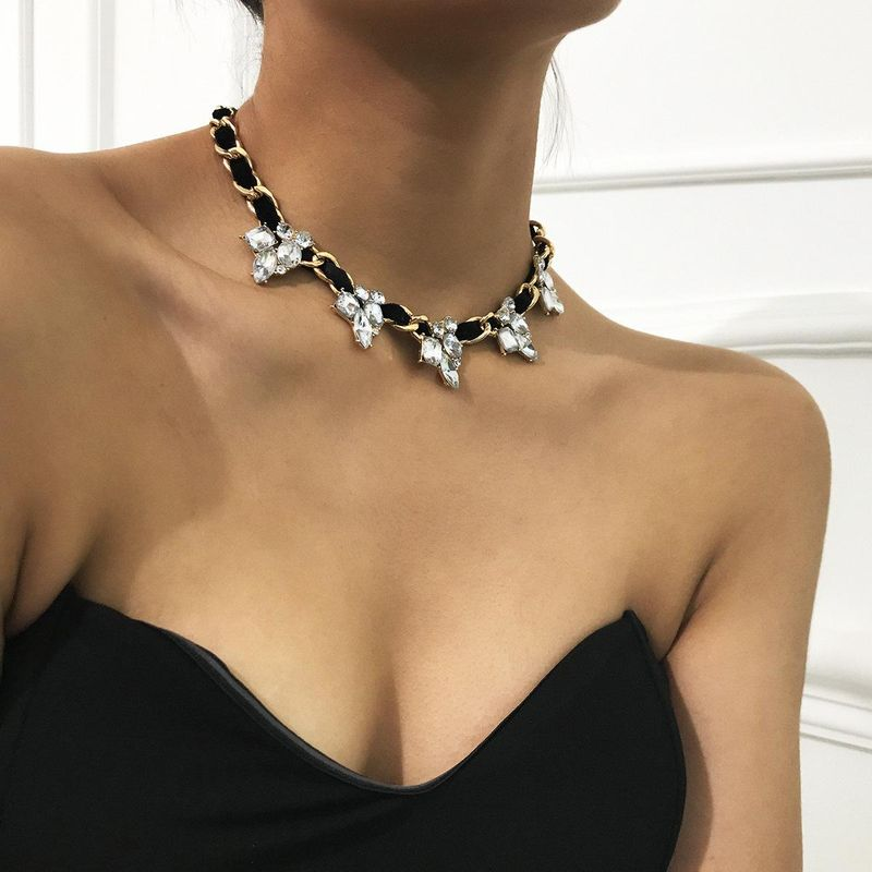 New fashion single-layer simple winding geometric item retro punk zircon flannel necklace women NHXR204533