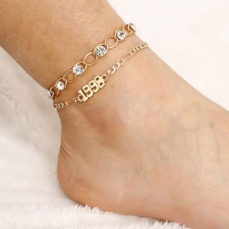 New fashion zircon inlaid multi-layer chain foot decoration wild digital geometric mashup anklet women NHXR204539