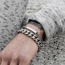 New fashion wild hiphop metal chain geometric bracelet with square letter nameplate suit bracelet women NHXR204540