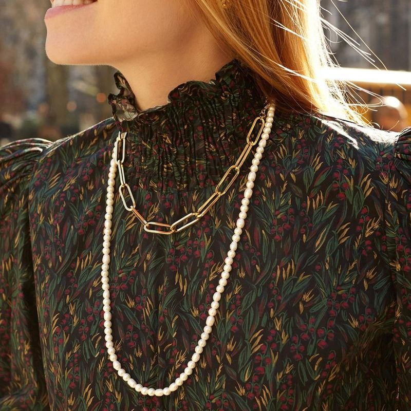 Korean pearl long money chain simple sweater chain large pearl beaded necklace wholesale NHLL204547