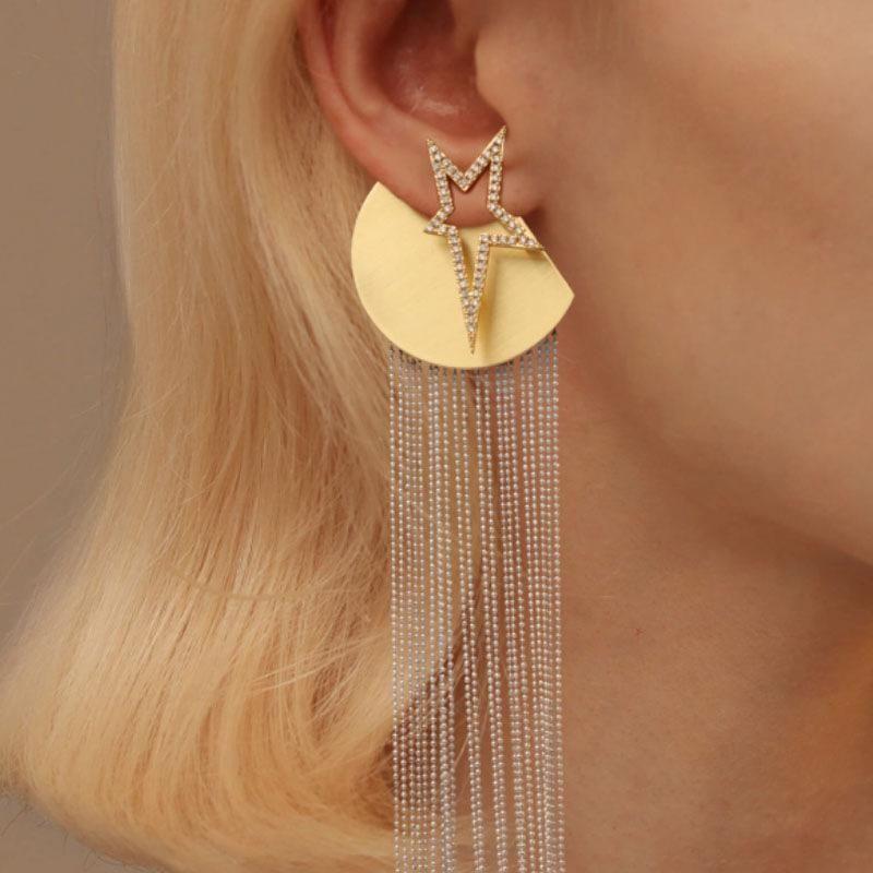 Tassel pentagram earrings for women exaggerated long dress star stud earrings NHNT204565