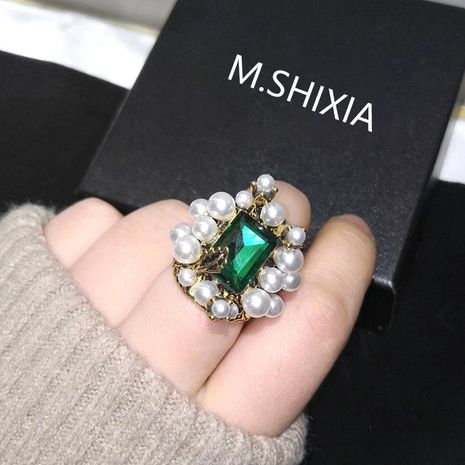 Vintage Emerald Emerald Ring Pearl Ring Elegant Wide Pasta Finger Ring NHNT204568's discount tags
