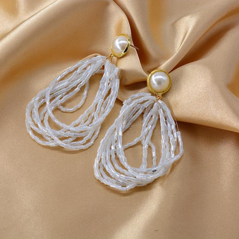 New handmade crystal tube long string circle white tassel earrings pearl earrings NHNT204574
