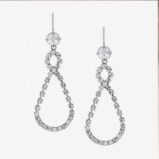 Fashion rhinestone 8-shaped cross water drop earrings long earrings NHNT204575's discount tags