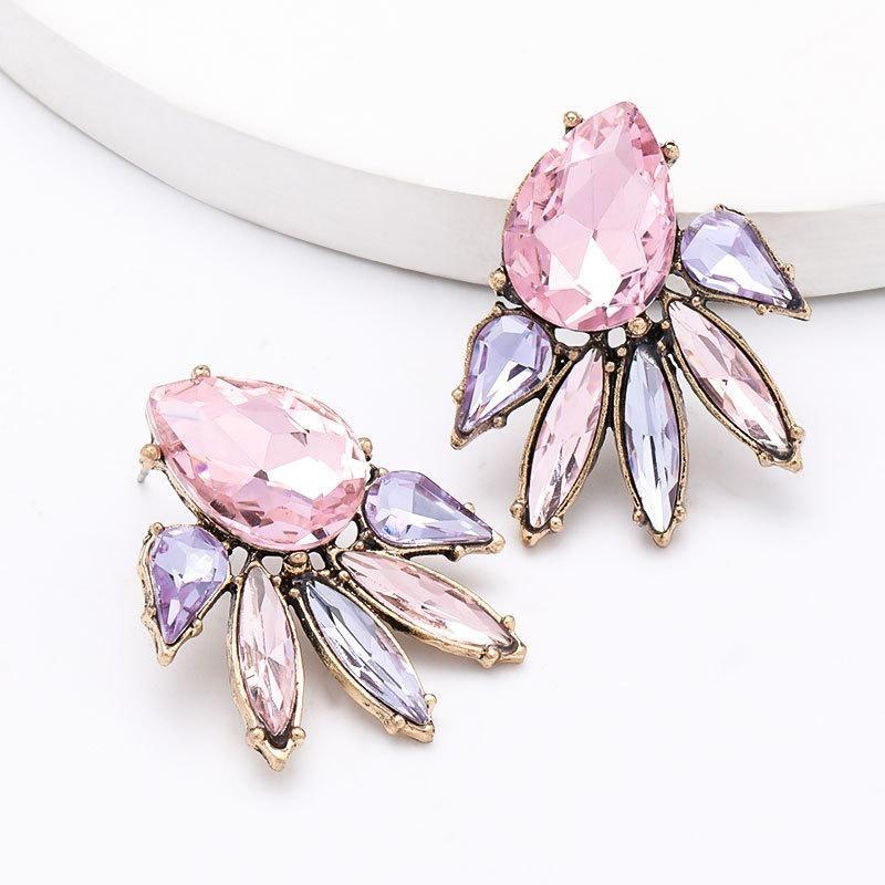 Drop-shaped glass diamond alloy diamond-set geometric full diamond earrings earrings NHJE204577