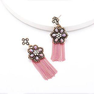 Spring new creative acrylic flower tassel earrings   NHJE204578's discount tags