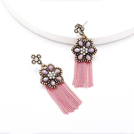 Spring new creative acrylic flower tassel earrings   NHJE204578's discount tags