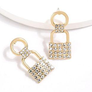 New Creative Love Lock Alloy Diamond Rhinestone Earrings NHJE204579's discount tags