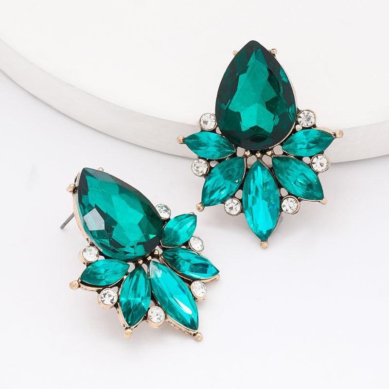 Drop-shaped glass diamond alloy diamond earrings super flash full diamond stud earrings NHJE204580