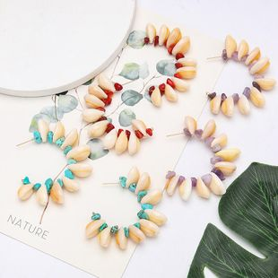 Women's multi-layer shell turquoise C-shaped earrings NHJE204583's discount tags