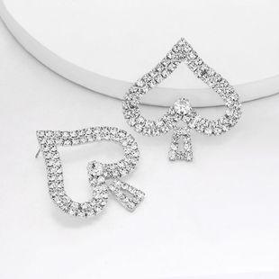 New Peace Spade Earrings Female Alloy Diamond Rhinestone Earrings NHJE204584's discount tags