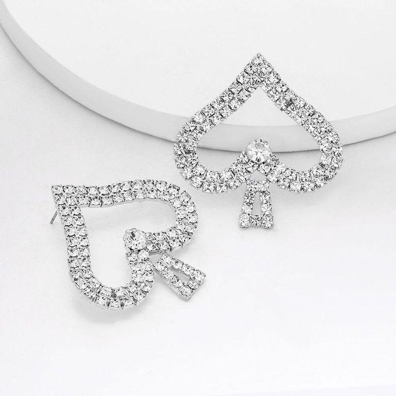 New Peace Spade Earrings Female Alloy Diamond Rhinestone Earrings NHJE204584
