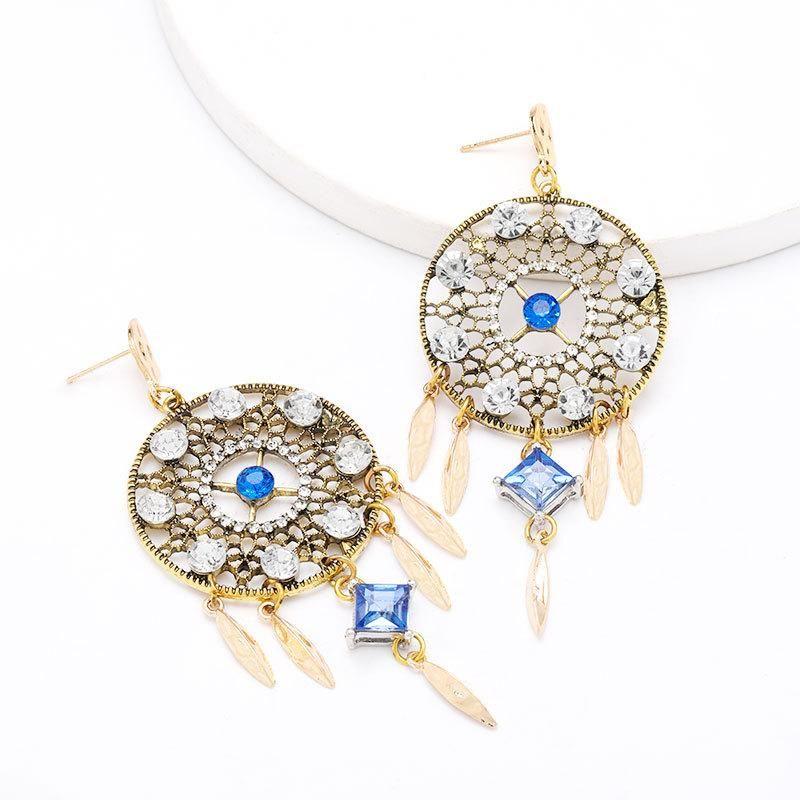 earrings new alloy diamond acrylic dream catcher earrings women NHJE204585