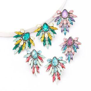 Alloy diamond and rhinestone full diamond super flash flower earrings Korean earrings NHJE204591's discount tags