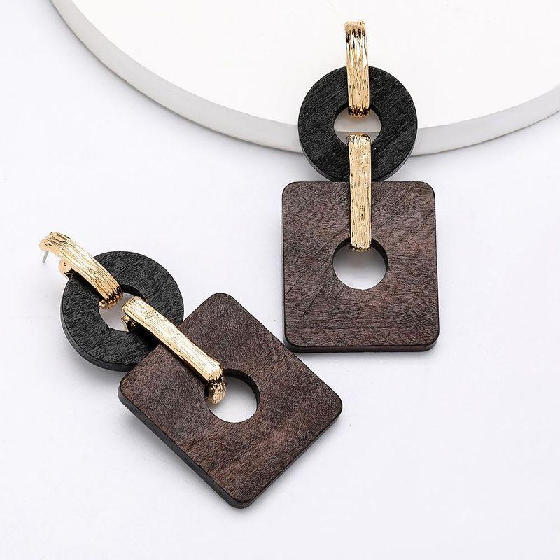 Fashion alloy round square hollow wooden earrings retro simple earring earrings NHJE204592