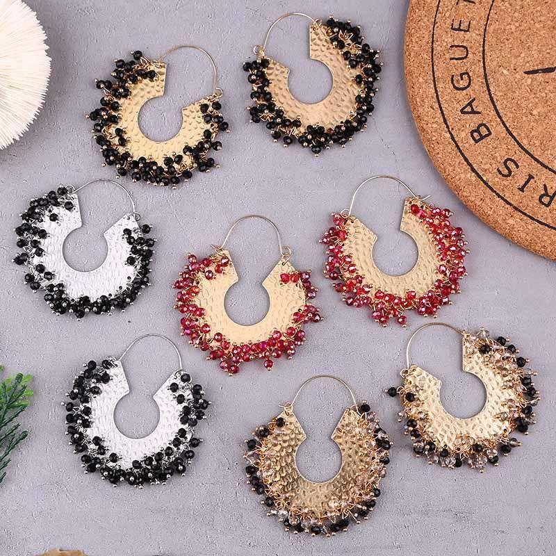 C-shaped geometric hand-woven crystal earrings earrings beaded jewelry NHLA204594