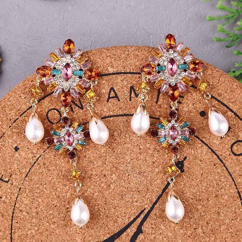 Long pearl colored crystal earrings rhinestone jewelry NHLA204595